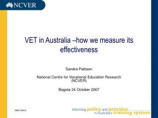 VET in Australia –how we measure its effectiveness