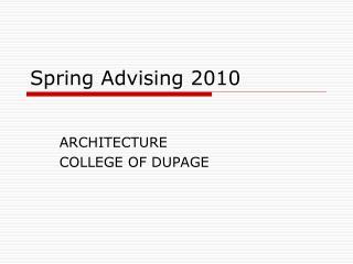 Spring Advising 2010