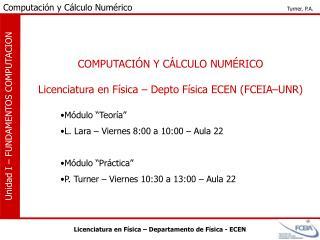COMPUTACIÓN Y CÁLCULO NUMÉRICO Licenciatura en Física – Depto Física ECEN (FCEIA–UNR)