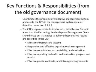 Key Functions & Responsibilities (from the old governance document)