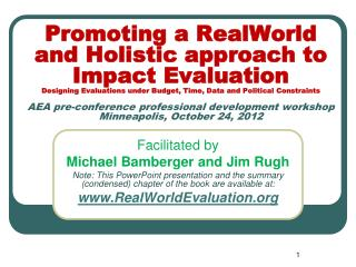 Facilitated by Michael Bamberger  and Jim Rugh