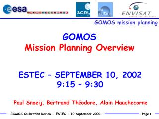 GOMOS  Mission Planning Overview