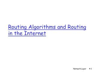 Routing Algorithms and Routing in the Internet