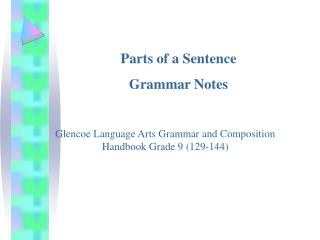 Parts of a Sentence Grammar Notes