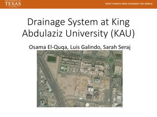 Drainage System at King  Abdulaziz  University (KAU)