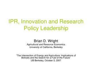 IPR, Innovation and Research Policy Leadership