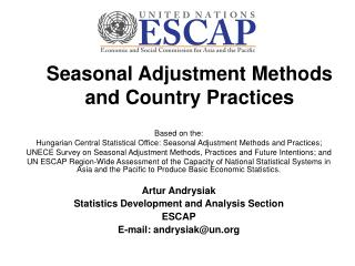 Seasonal Adjustment Methods and Country Practices