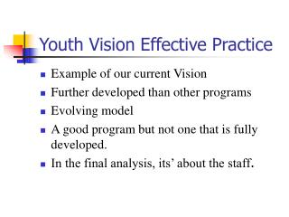 Youth Vision Effective Practice