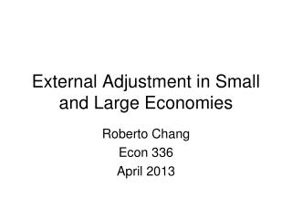 External Adjustment in Small and Large Economies