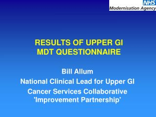 RESULTS OF UPPER GI MDT QUESTIONNAIRE