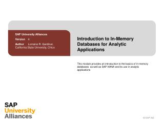 Introduction  to  In-Memory Databases  for  Analytic Applications
