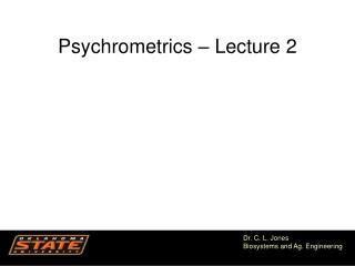 Psychrometrics – Lecture 2