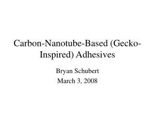 Carbon-Nanotube-Based (Gecko-Inspired) Adhesives