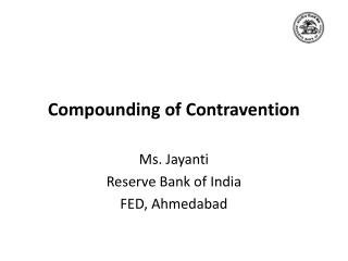 Compounding of Contravention