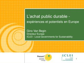 L achat public durable -  exp riences et potentiels en Europe