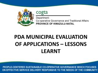 PDA MUNICIPAL EVALUATION OF APPLICATIONS – LESSONS LEARNT