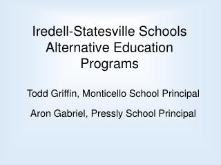Iredell-Statesville Schools Alternative Education Programs