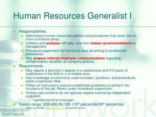 Human Resources Generalist I