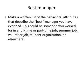 Best manager