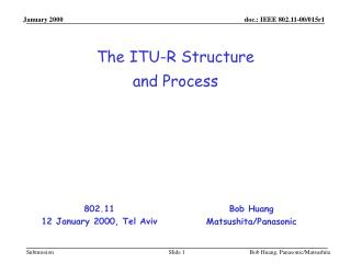 The ITU-R Structure  and Process
