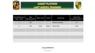 CADET PLATOON  LAST WEEKS TRAINING