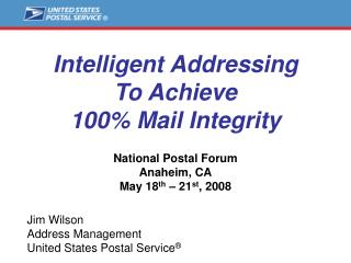 Intelligent Addressing To Achieve 100% Mail Integrity