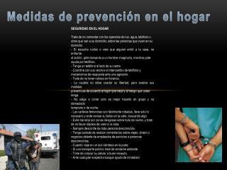 Medidas de prevención en el hogar
