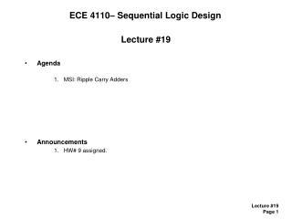 ECE 4110– Sequential Logic Design