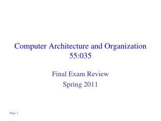 Computer Architecture and Organization 55:035