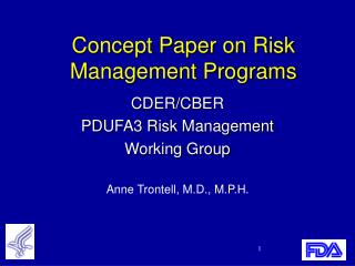 Concept Paper on Risk Management Programs