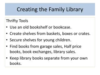 Creating the Family Library