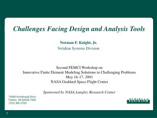 Challenges Facing Design and Analysis Tools