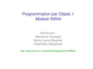 Programmation par Objets 1 Contenu