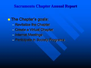 Sacramento Chapter Annual Report