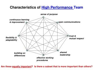 Characteristics of  High Performance  Team