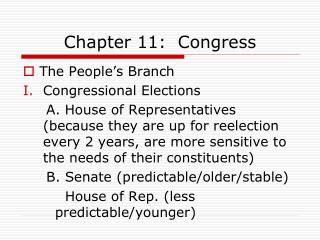 Chapter 11:  Congress