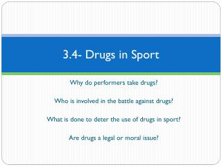 3.4- Drugs in Sport