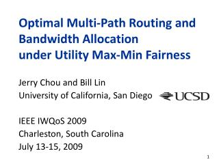 Optimal Multi-Path Routing and Bandwidth Allocation  under Utility Max-Min Fairness