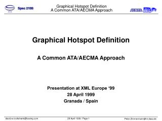 Graphical Hotspot Definition A Common ATA/AECMA Approach Presentation at XML Europe '99