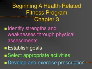 Beginning A Health-Related Fitness Program Chapter 3