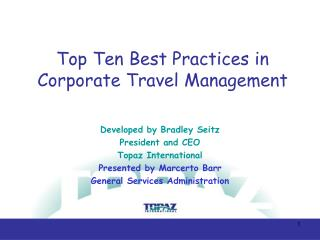 Top Ten Best Practices in Corporate Travel Management