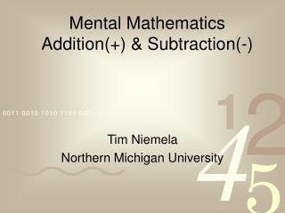 Mental Mathematics Addition(+) & Subtraction(-)