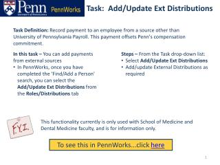 Task:  Add/Update Ext Distributions