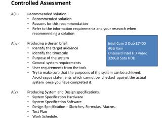 Controlled Assessment A(iii) 	Recommended solution Recommended solution