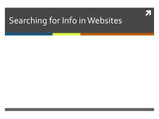 Searching for Info in Websites