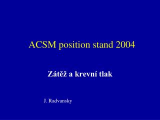ACSM position stand 2004