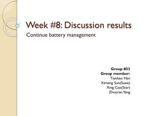 Week #8: Discussion results