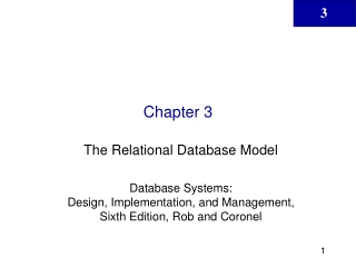 The Relational Database Model  Database Systems:  Design, Implementation, and Management, Sixth Edition, Rob and Coronel