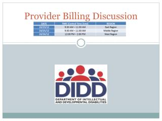 Provider Billing  Discussion