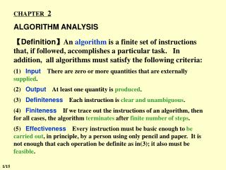 CHAPTER   2 ALGORITHM ANALYSIS